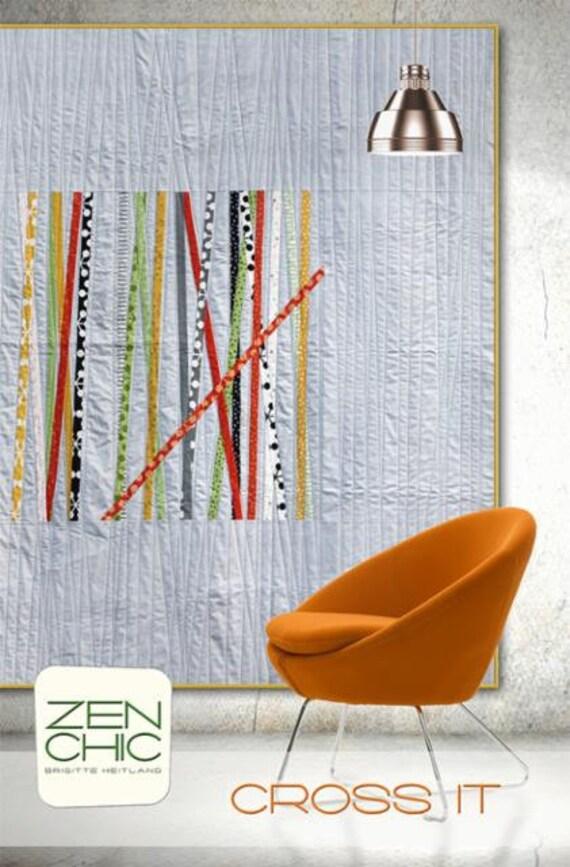 Modern Quilt Pattern, Cross It by Brigitte Heitland of Zen Chic, Advanced Level Quilter, Jelly Roll Friendly On Grey Background