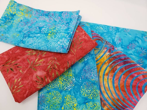 Batik Cotton Fabric Of 5 One Yard Cuts Royal Caribbean Blues and Reds With Hints of Greens, Oranges, Purple and Yellow 1YARDBR221
