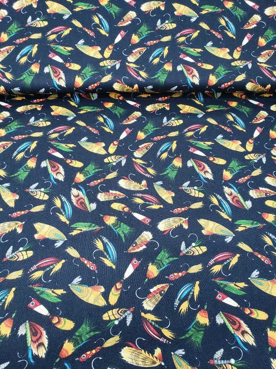 Fishing Lures In Bright Yellow, Green Red and Orange On Black Background, Dan Morris Take The Bait, Quilt Fabric by the Yard 1602