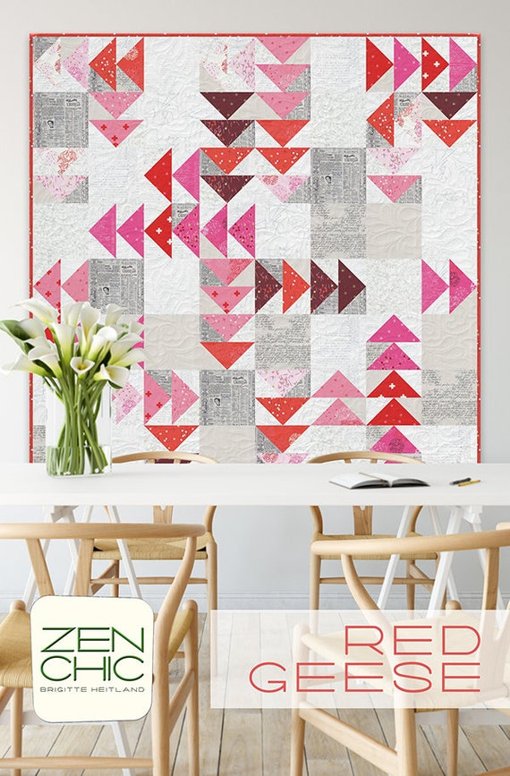Modern Quilt Pattern, Red Geese by Brigitte Heitland of Zen Chic, Beginner Level Quilter, Layer Cake Friendly And Stash Buster