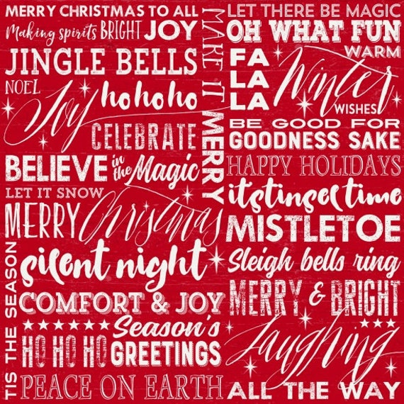 Holiday Wishes White Words On Red Background, Mistletoe, Silent Night, Season's Greetings, Merry Christmas. Quilt Fabric by the Yard 6925 88