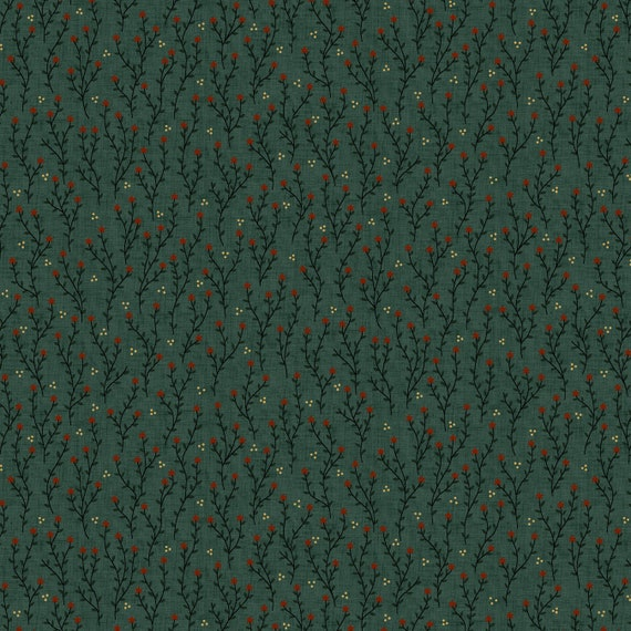 Liberty Star Kim Diehl Quilt Fabric By The Yard - Star Blossoms Teal Green 1578 11