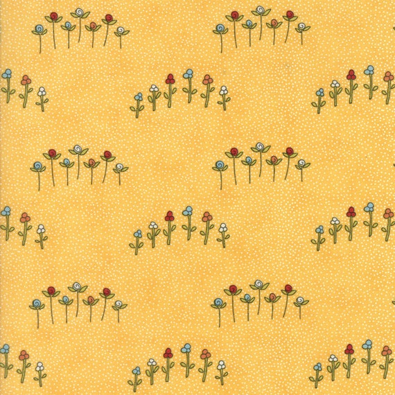 Sweetwater For Moda, The Treehouse Club Soft Yellow Background With Little Red Flowers on A Green Stem, Fabric By The Yard 5632 13