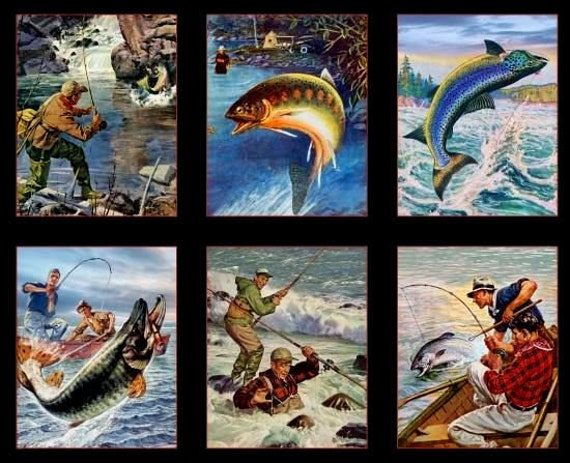 Fly Fishing And Lure Casting Fishing Panel of 6 Scenic Blocks, Sports Afield for Elizabeth's Studio, Quilt Fabric by the Yard, 8403 Black
