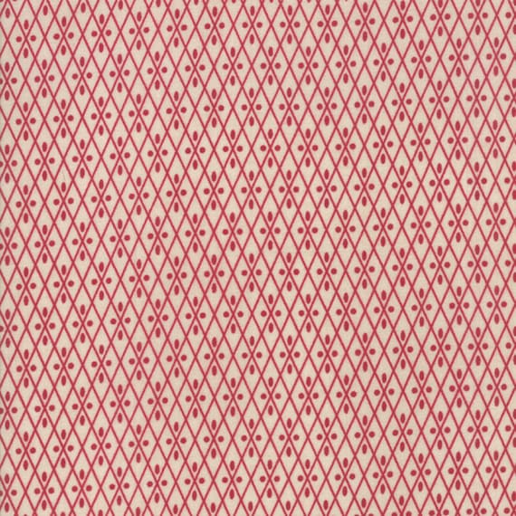 Vive La France Pearl and Red, Diamonds And Dots On White Prints By French General For Moda Quilt Fabric by The Yard 13836 12