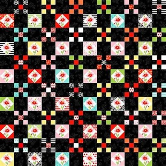 "Nine Patch Quilt Squares on Black Background From Fab ""Friend"" ZY by Tickled Pink, Barbara Jones, Quilt Fabric By The Yard 6484 2"