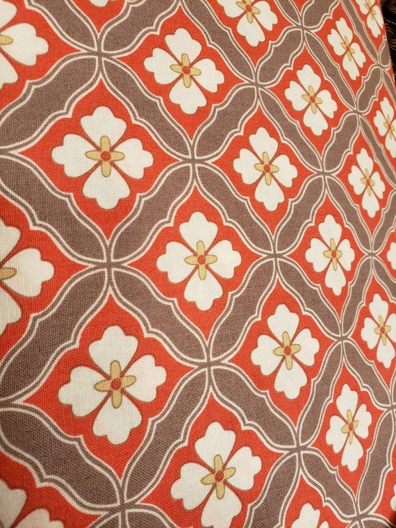 Coral, Grey and White Flowers Set On Point  Maywood Studios Fabrics by the Yard MAS8708 R