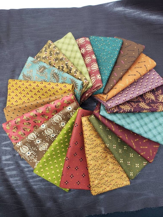 Kim Diehl Fat Quarter Bundle of 19 Farmstead Harvest Quilt Fabric Prints, Primitive Traditional Home Decor For Your Patchwork Cottage Style