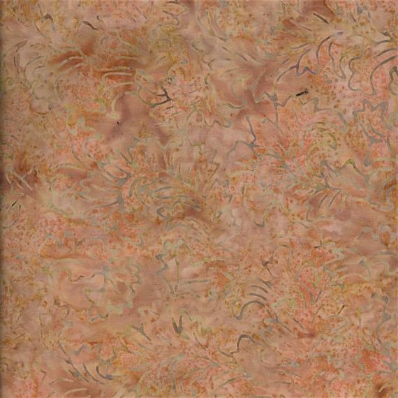 Peach Tan Leaf Botanical Fire Malam Batik by Jinny Beyer for RJR Fabrics, Fabric by the Yard 2142 002