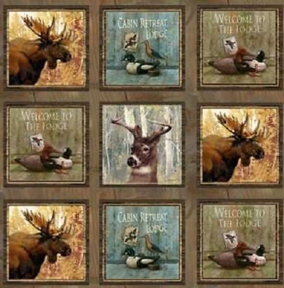 "Mountain Woods 22"" Panel Of Animal Squares On Barnwood Background for SPX Fabrics, Quilt Fabric by the Yard, 23955"