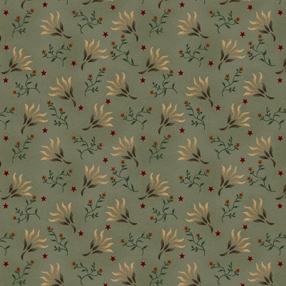 Liberty Star Kim Diehl Quilt Fabric By The Yard - Stars and Seaweed Blossoms Light Teal Green 1583 11