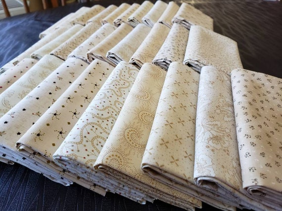 Kim Diehl Neutral Background Quilt Fabrics. 30 Fat Quarter Bundle. Hand Cut And Gently Folded. Popular Collection of Butter Churn Basics