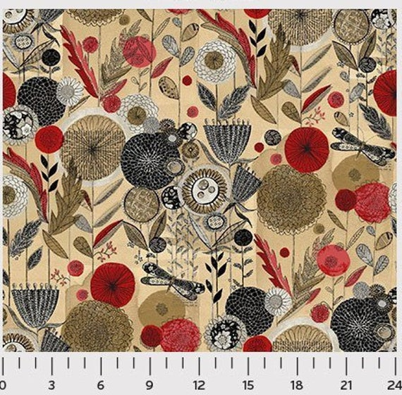 Love More Big Pencil Flowers In Red Black and Taupe On Tan Background, Quilt Fabric by the Yard For P&B Textiles. 309R