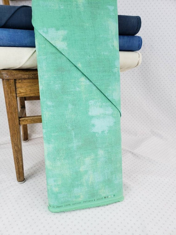 Aqua Blue Green With Hints Of Light Blue Moda Grunge Basics, Modern Textured Blender And Background, Quilt Fabric by the Yard, 30150 154