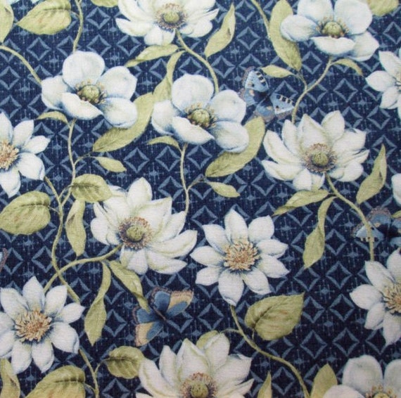 Indigo Nature Flowers On Diamonds On Denim Blue For Wilmington Prints Quilt Fabric by the Yard, 44038 491