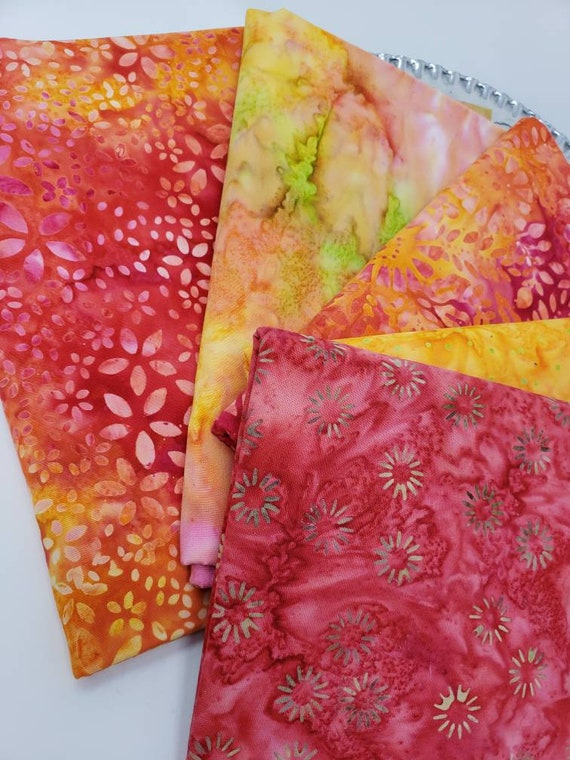Batik Cotton Fabric Of 5 One Yard Cuts In Sushine Yellows, Hot Reds and Pinks With A Little Green  1YARD235