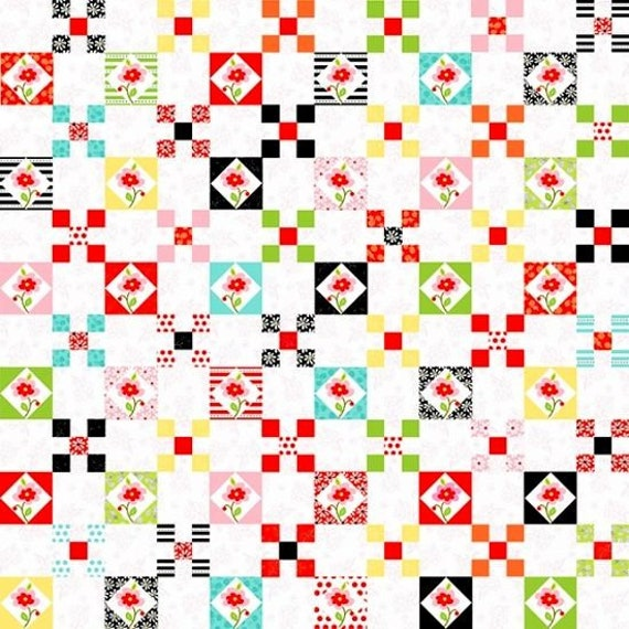 "Nine Patch Quilt Squares on White Background From Fab ""Friend"" ZY by Tickled Pink, Barbara Jones, Quilt Fabric By The Yard 6484 2"