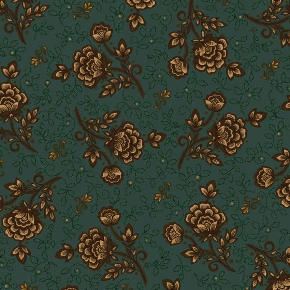 Pencil Drawn Cabbage Roses on Dark Teal Green Kim Diehl Helping Hands Fabric by the Yard 6874 70
