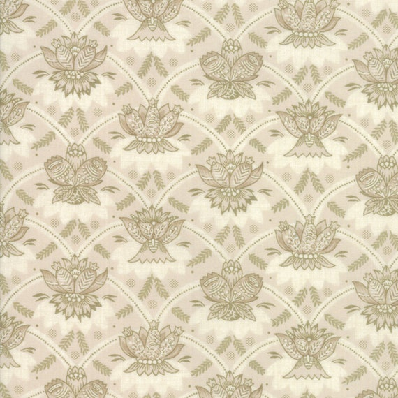 Vive La France Pearl And Tan, Royal Feather Crest Prints By French General For Moda Quilt Fabric by The Yard 13832 13
