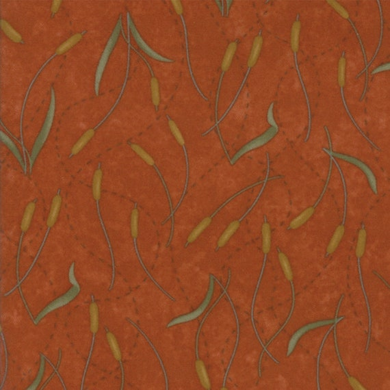 Burnt Orange Wetlands Pussy Willows In Flannel From Holly Taylor Fall Impressions Moda Fabric By The Yard 6701 15F