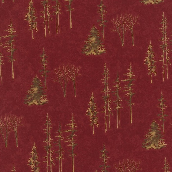 Lonely Trees Of Pine, Fir and Aspen On Rusty Red Background, Through The Winter Woods, Holly Taylor for Moda Fabric by the Yard 6554 14