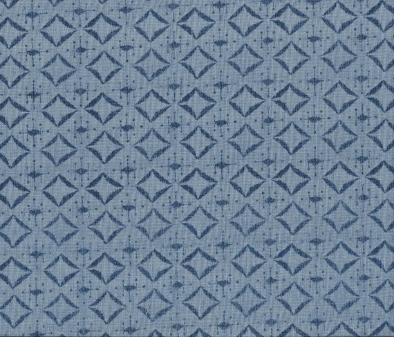 Indigo Nature Diamonds On Denim Blue For Wilmington Prints Quilt Fabric by the Yard, 44040 444
