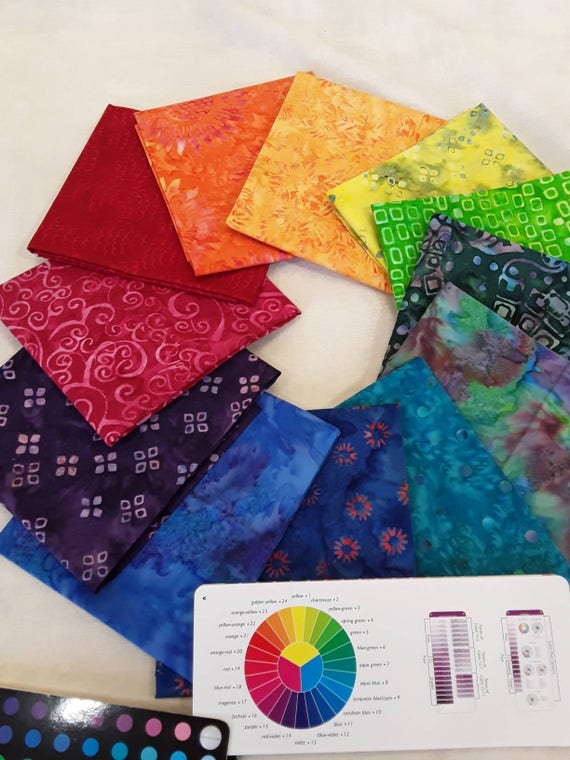 Batik Textiles Fat Quarter Bundle of 12 Hand Cut Rainbow Of Color. Use In Your Favorite 12 Pack Quilt Pattern. Group P