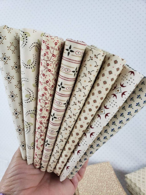 Kim Diehl Neutral Background Quilt Fabrics. 8 Fat Quarter Bundle. Hand Cut And Gently Folded