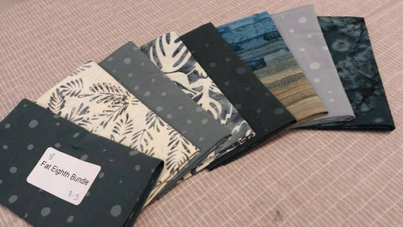 Batik Bundle of 8 Precut Fat Eighth Quilt Fabric From Batik Textile Company Of Leaves, Dots, Ferns Stripe Color Wash of Grey and White