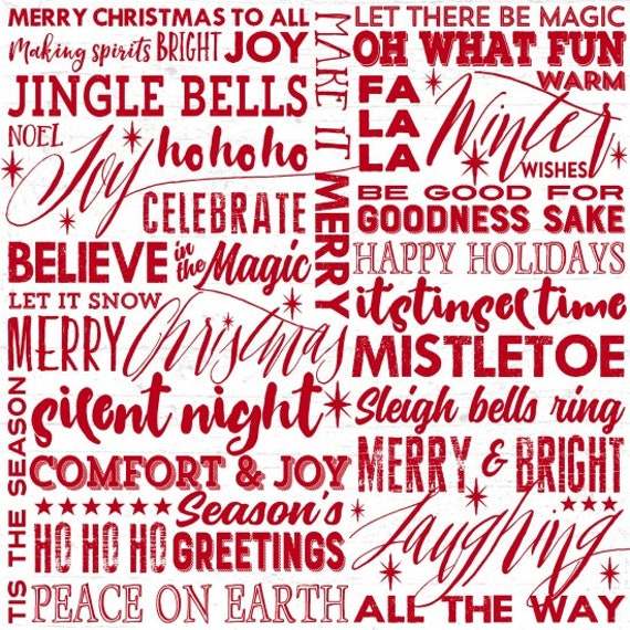 Holiday Wishes Red Words On White Background, Mistletoe, Silent Night, Season's Greetings, Merry Christmas. Quilt Fabric by the Yard 6925 8