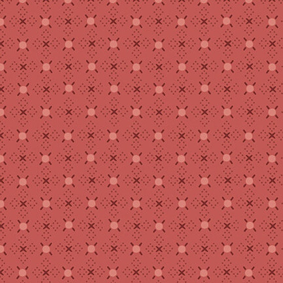 Hugs And Kisses Salmon Pink Kim Diehl Blush and Blue Quilt Fabric by the Yard 1957 22