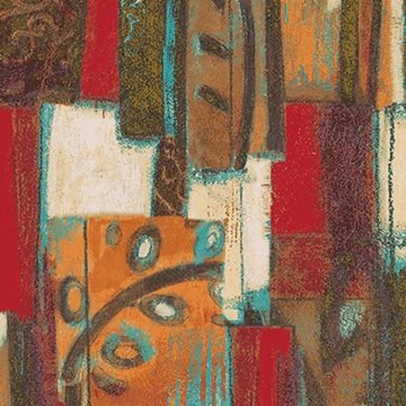 Tuscan Breeze Big Abstract Print In Reds and Golds, Quilt Fabric by the Yard For P&B Textiles. 891