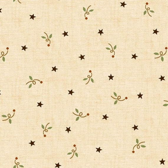 Kim Diehl Butter Churn Basics Creme Beige Stars and Flowers With Hint of Blue and Red, Henry Glass Fabrics by the Yard 6286 44
