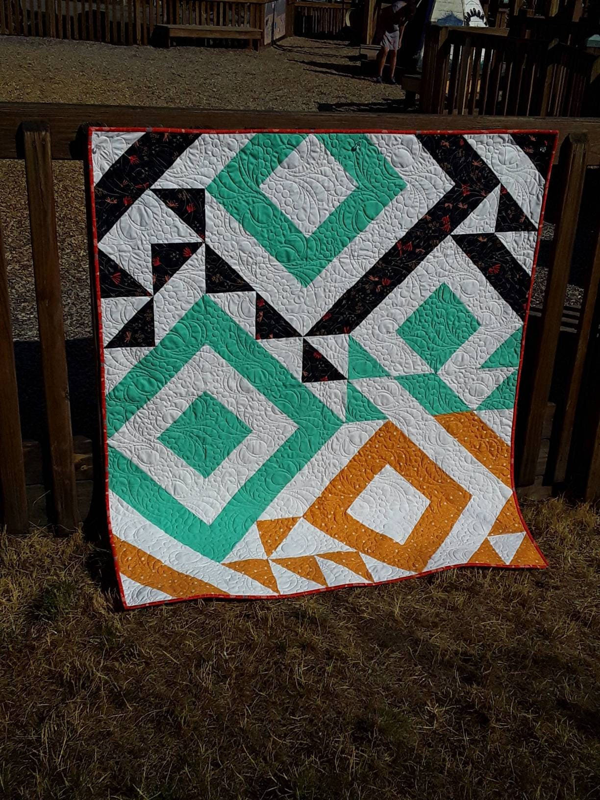 Easy Modern Triangle Twin Size Quilt Kit With A Striking Chic Design