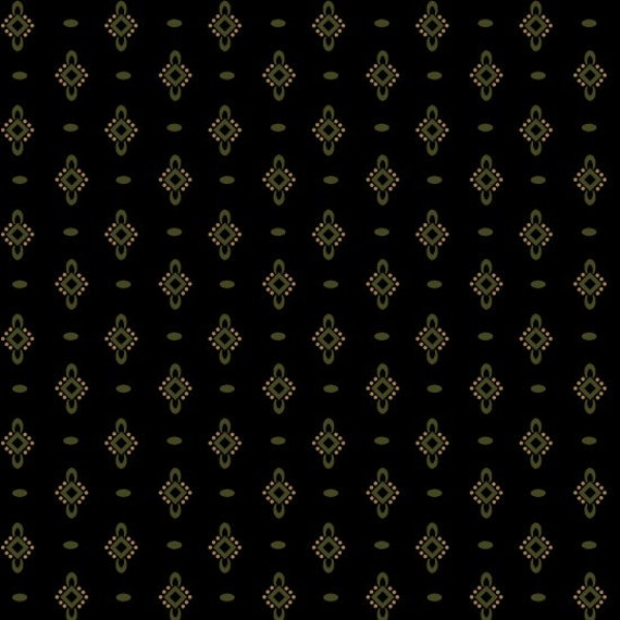 Ebony and Onyx By Kim Diehl Primitive Black Little Olive Green Medallions With Dashes, Cotton Print Quilt Fabric by the Yard 6994 99