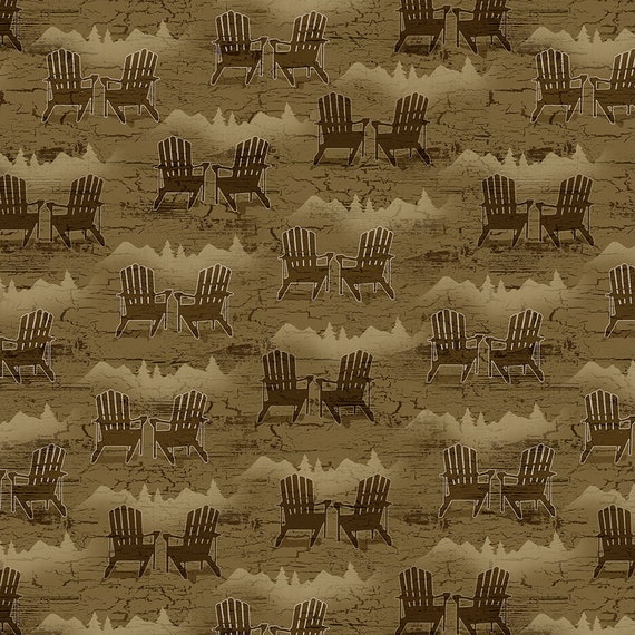 Adirondack Chairs On A Moss Green Background, Novelty Print For Cabin In The Woods, Twilight Lake Quilt Fabric by the Yard 1694 33