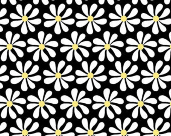 "White Daisies With Yellow Centers on Black Background From Fab ""Friend"" ZY by Tickled Pink, Barbara Jones, Quilt Fabric By The Yard 6483 99"