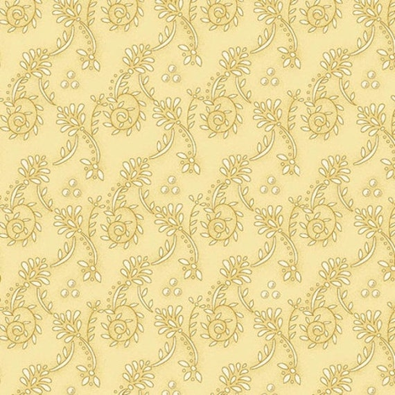 Kim Diehl Butter Churn Basics Beige Spiral Vines, Henry Glass Fabrics by the Yard 6556 33