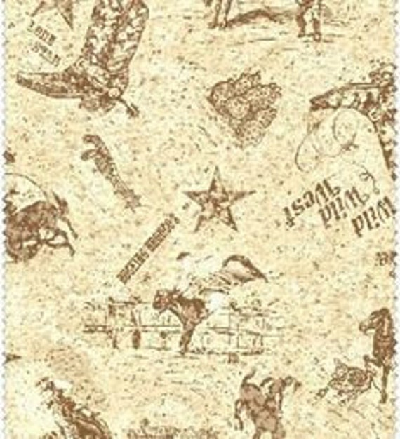 Cowboy Rodeo With Stars, Bucking Bronco's, Boots and Hats Neutral Quilt Fabric by the Yard, Galaxy Fabrics Dusty Trails 404 e
