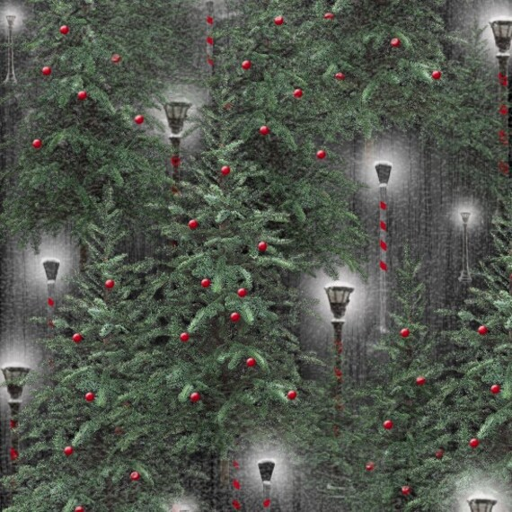 Bulb Covered Christmas Trees Lighted By Lanterns, Winter Green, Merry Christmas. Quilt Fabric by the Yard 6927 66