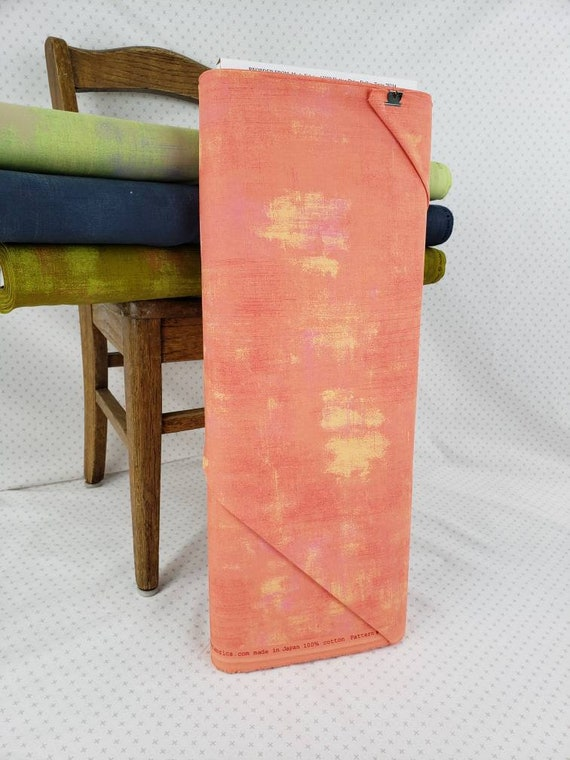 Papaya Patch Grunge Basics, Modern Textured Blender, Peach With Hints of Pink and Yellow,  Moda Quilt Fabric by the Yard, 30150 323