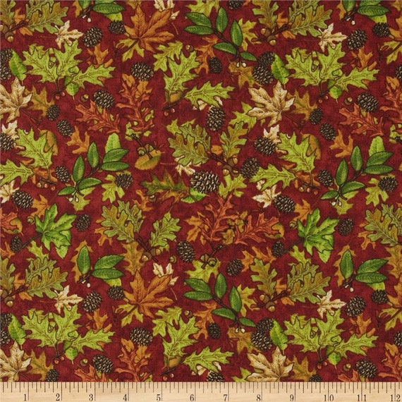 Country Cabin Fall Leaves On Rust Background by Dan Morris, Quilt Fabric by the Yard, 1609 Rust