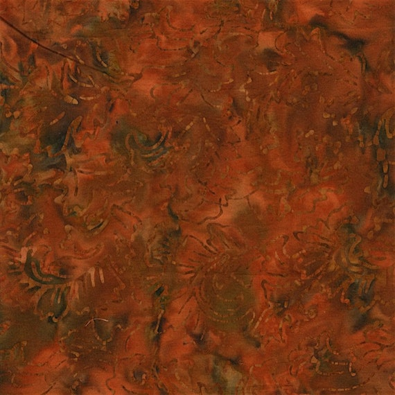 Burnt Orange Black Leaf Botanical Fire Malam Batik by Jinny Beyer for RJR Fabrics, Fabric by the Yard 2142 001