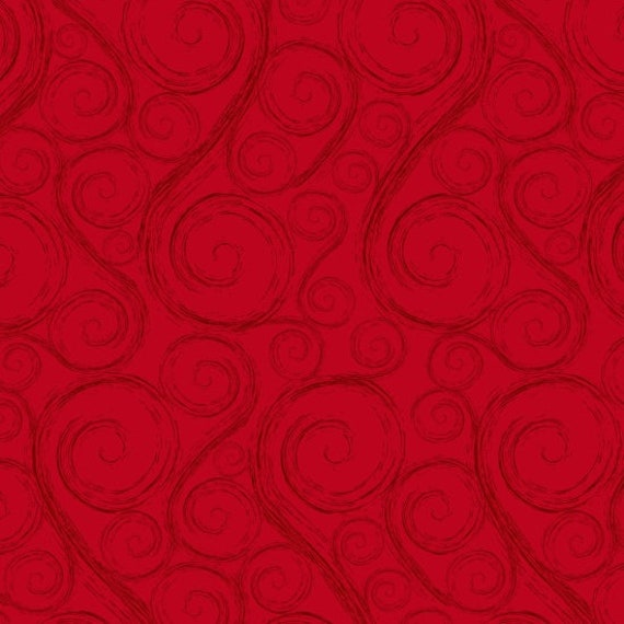 Holiday Red Swirls,  Merry Christmas. Quilt Fabric by the Yard 6930 88