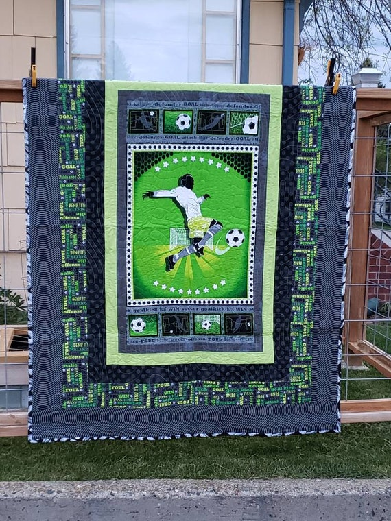 Soccer Lap Quilt Handmade In Montana, Sport Themed Quilt With Bright Neon Greens and Gray, Gift For Soccer Kid