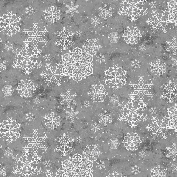 Floating White Snowflakes Scattered On Soft Grey Background, Fabric by the Yard, by Barb Tourtillotte, 1311-90