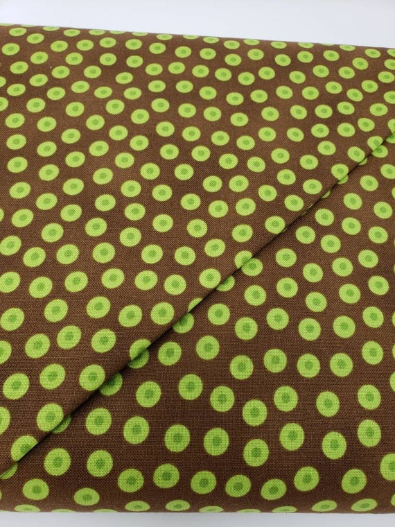 Green Olives On Chocolate Brown Background, Lily's Garden Quilt Fabric, RJR Fabrics, 2029 011