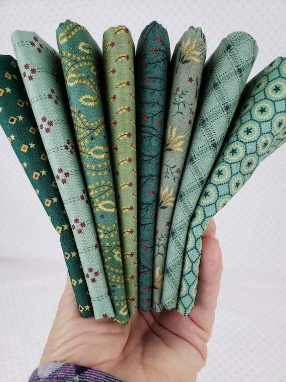 Kim Diehl Fat Quarter Bundle of 8 Handcut Teal Green Vintage Quilt Fabric Prints, Liberty Star Reproduction Collection, Henry Glass Fabrics