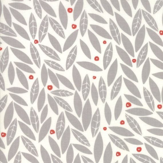 Light Grey Leaves With Red Berries Merrily Quilt Fabric By Gingiber For Moda, Winter Holiday Modern Style Fabric by the Yard 48212 15