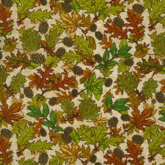 Country Cabin Fall Leaves On Cream Background by Dan Morris, Quilt Fabric by the Yard, 1609 Cream